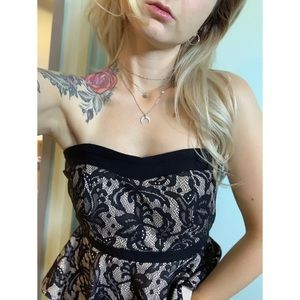Small, Black and Tan lace peplum party dress